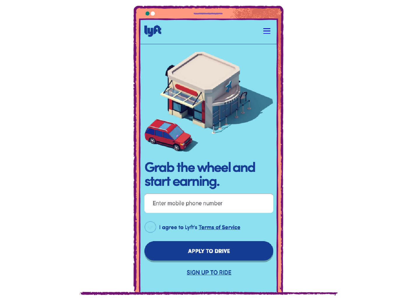 call to action button examples from lyft to either sign up to drive or sign up to ride