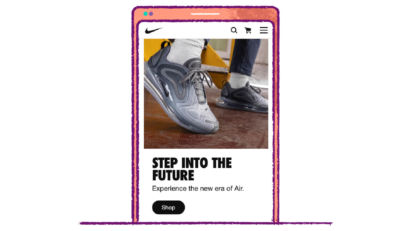 call to action button example from Nike to use big bold fonts