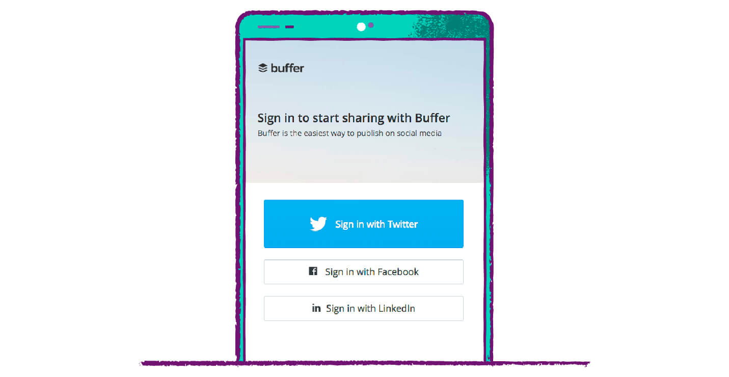 buffer call to action buttons example with big bold buttons