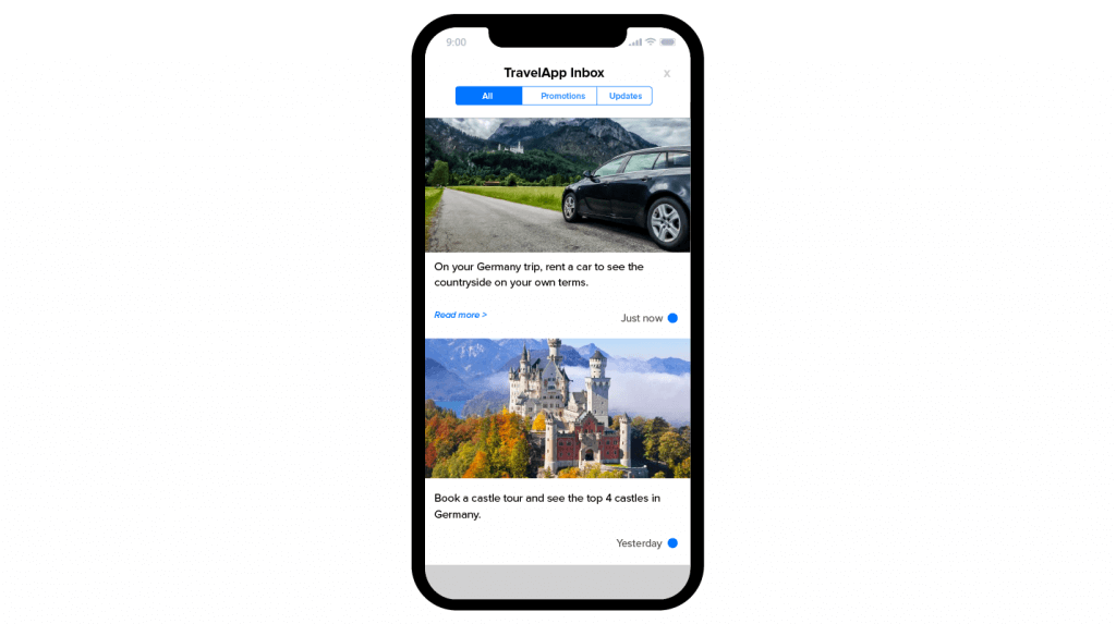 Using App Inbox with Recommendations on a travel app