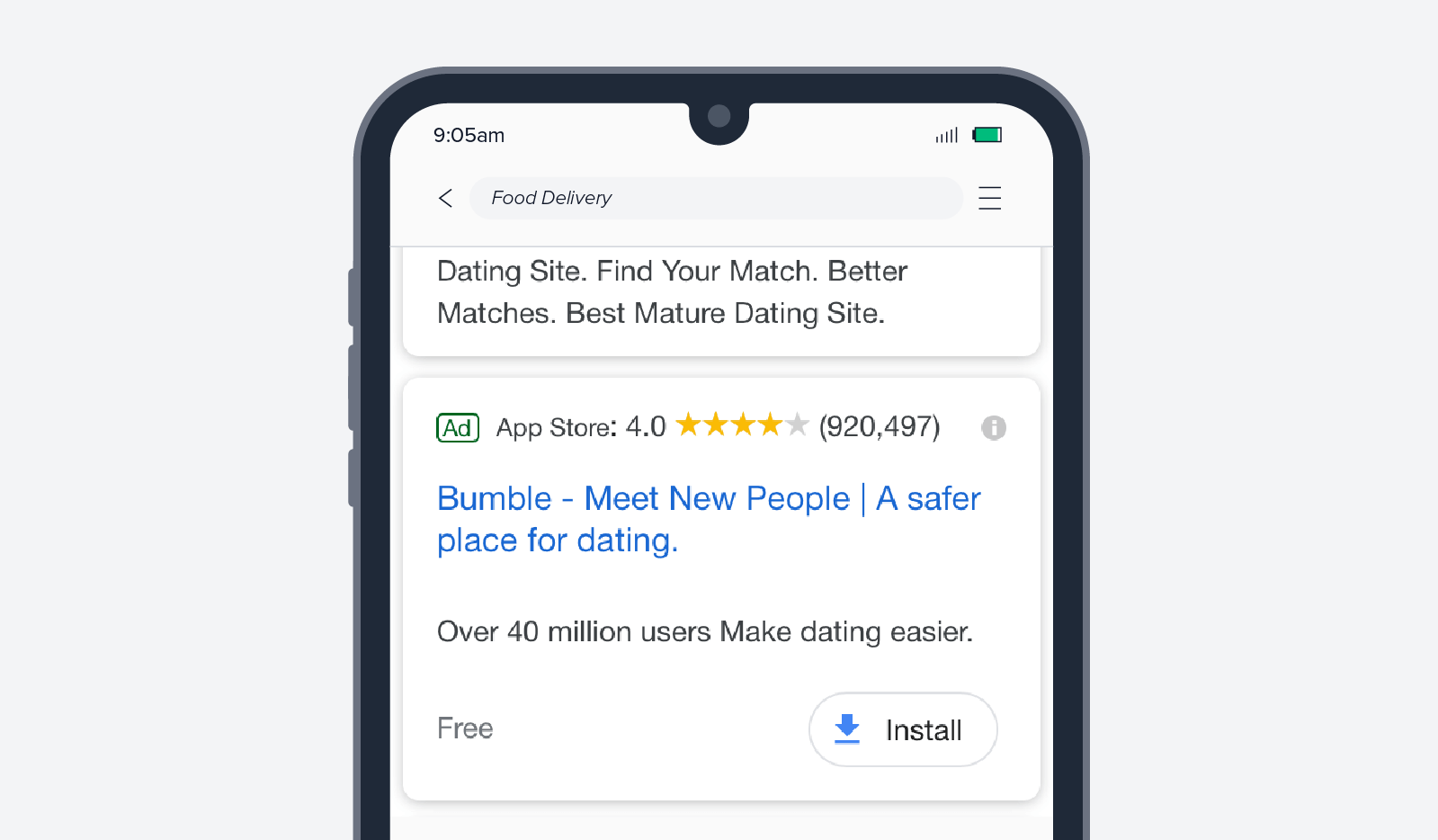 bumble app intall ad