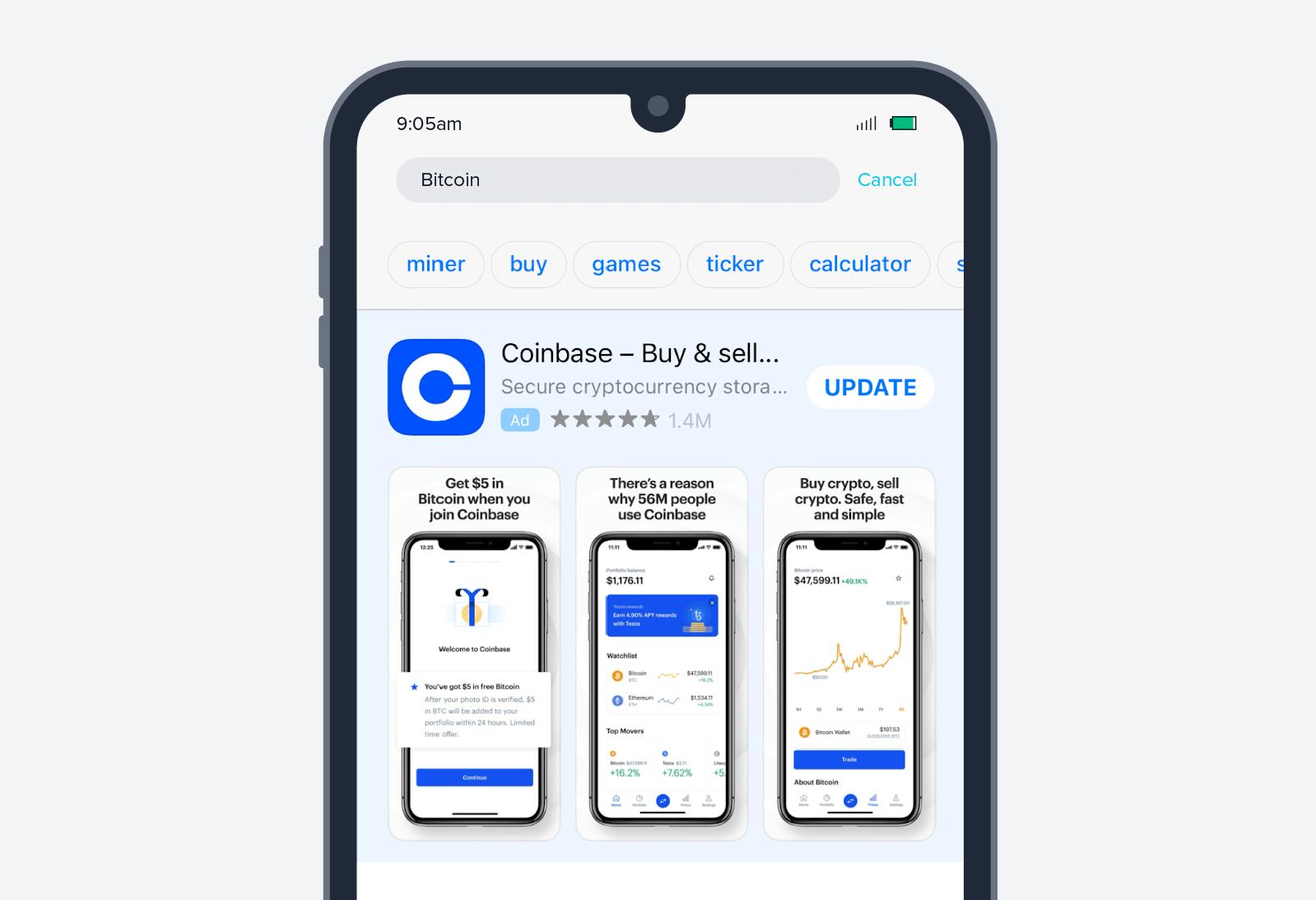 Coinbase app install ad