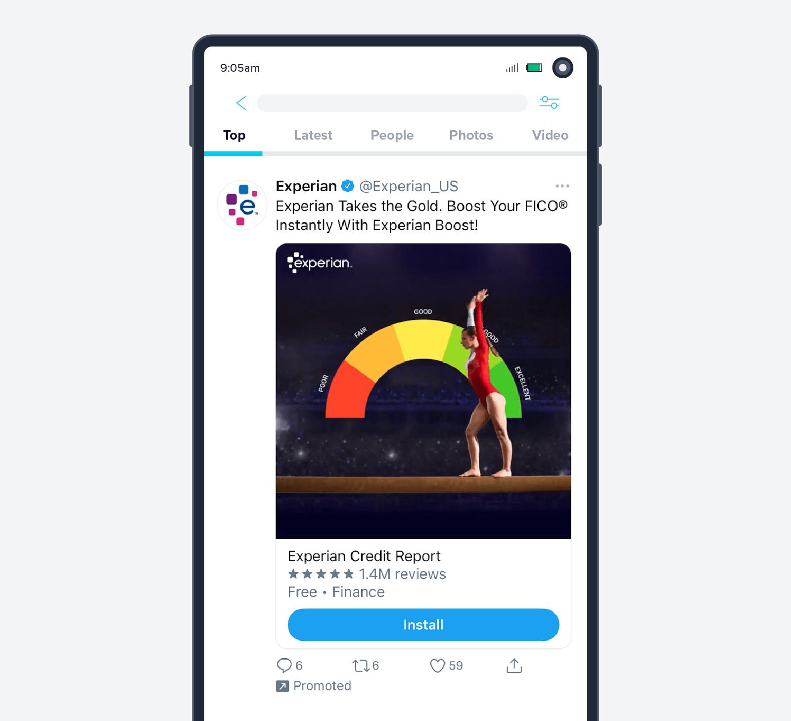 Experian app install ad