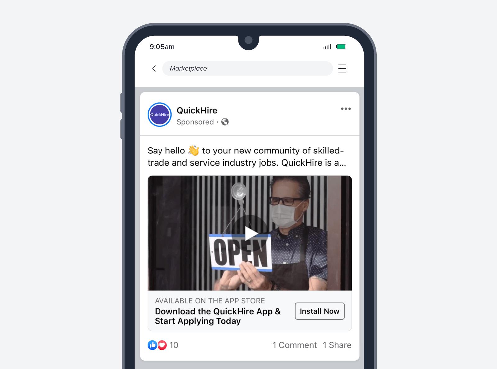 Quickhire app install ad screenshot