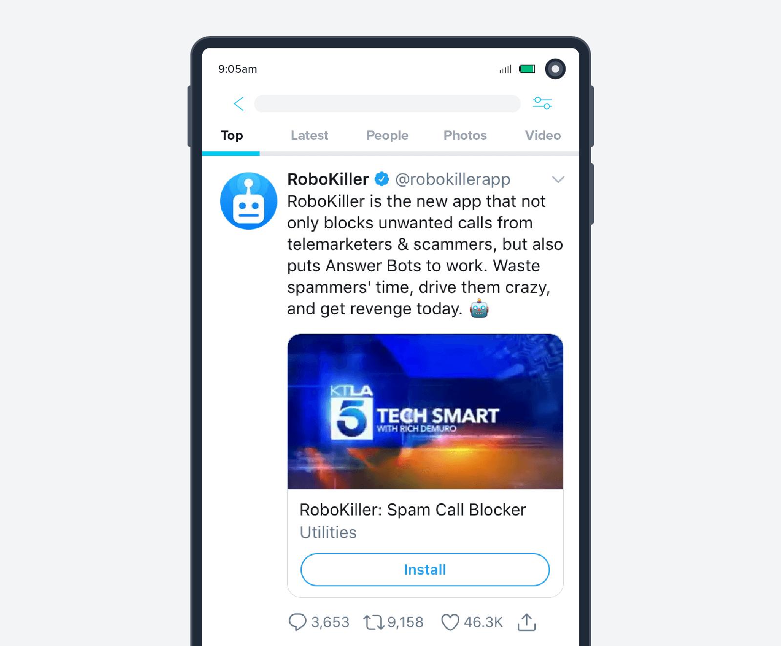 Robokiller app install ad screenshot