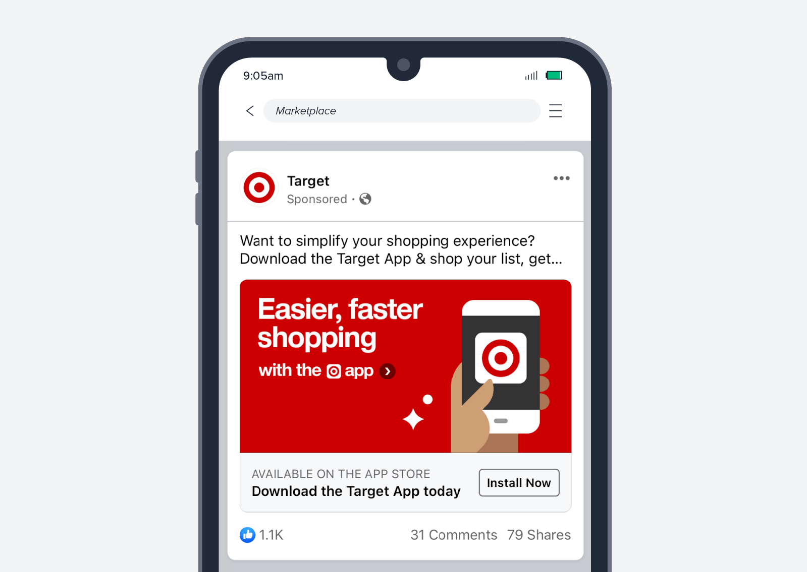 Target app install ad screenshot