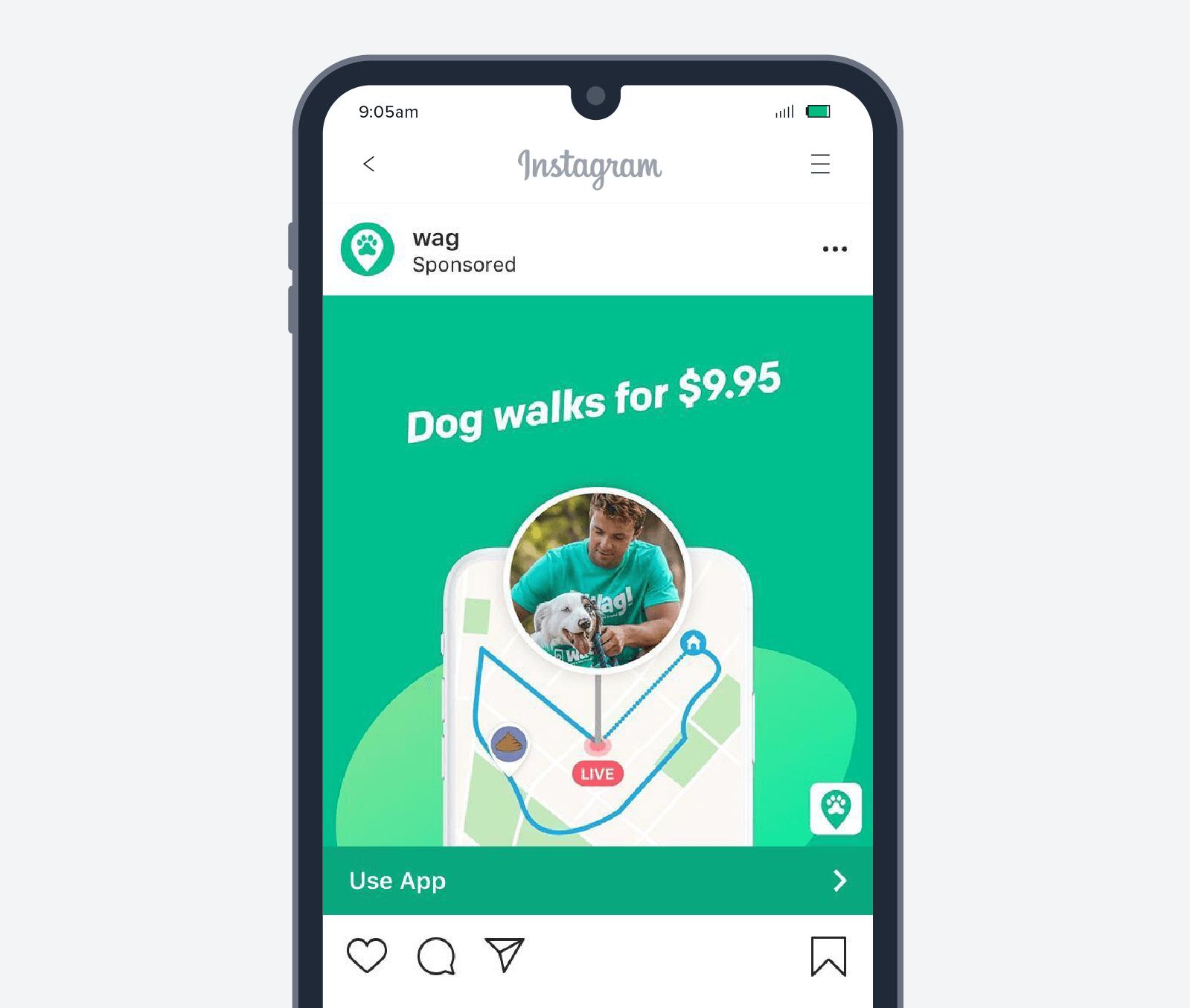Wag app install ad
