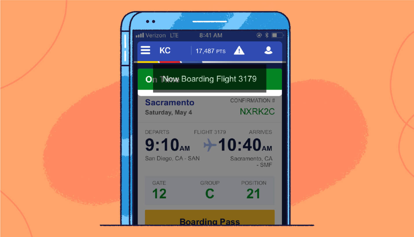 in-app message example from Southwest airlines alerting boarding flight