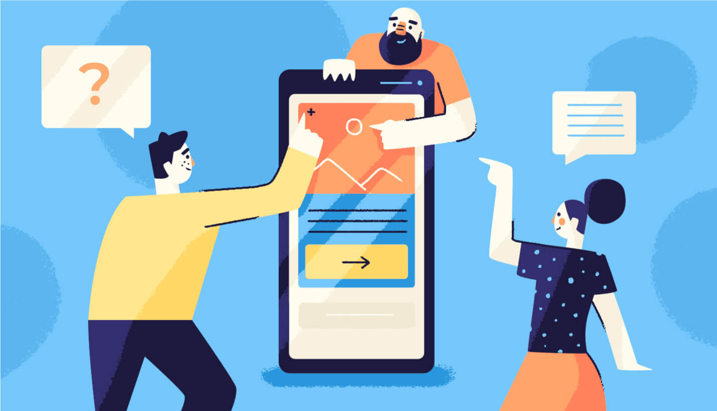 Engagement illustrations with three users pointing at various components of the in-app message