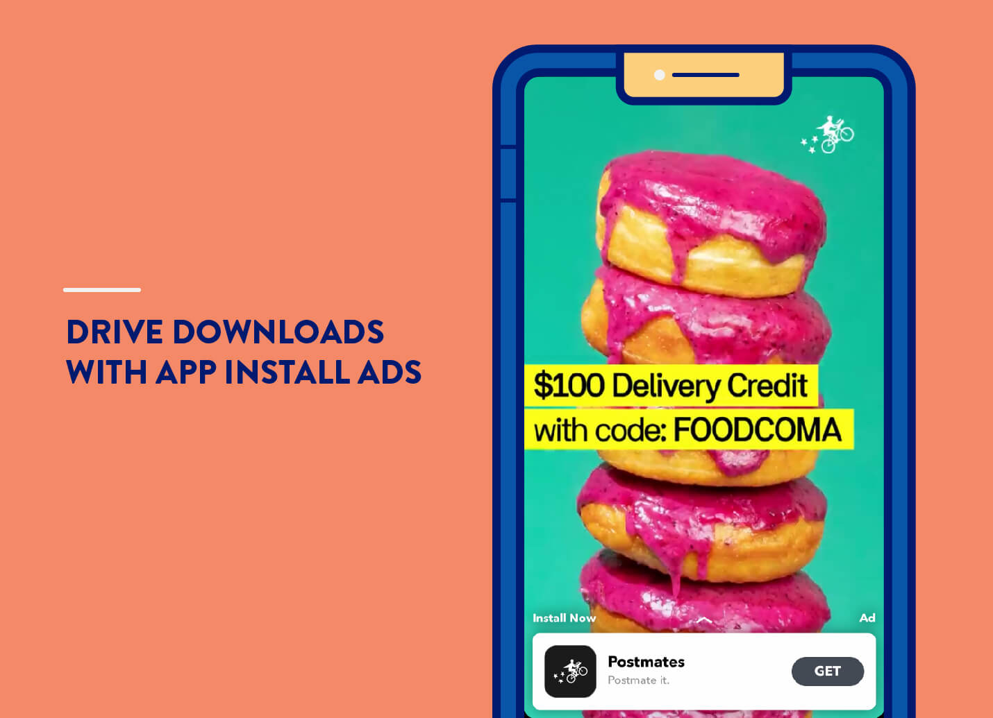 app install ads example from Postmates on snapchat for mobile app marketing strategies