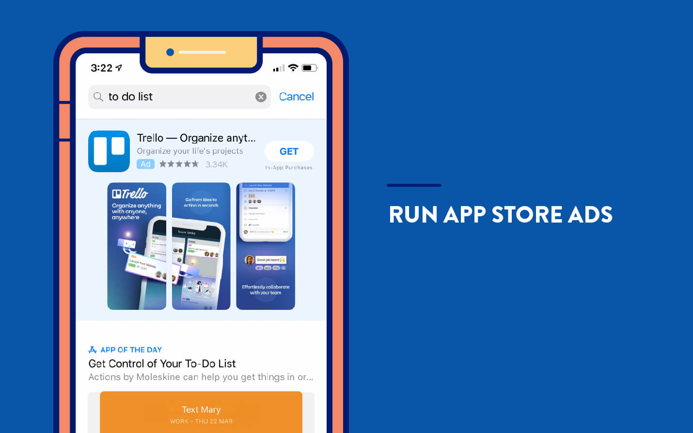 app marketing example from app store ad search to do list and trello ad