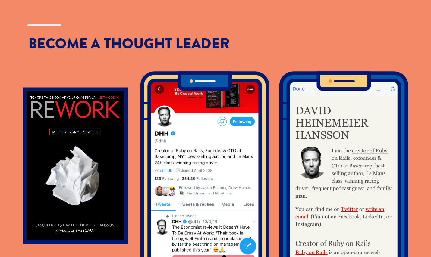 become a thought leader example from Daniel Heinemelier Hansson DHH author, twitter, and personal blog example for app marketing