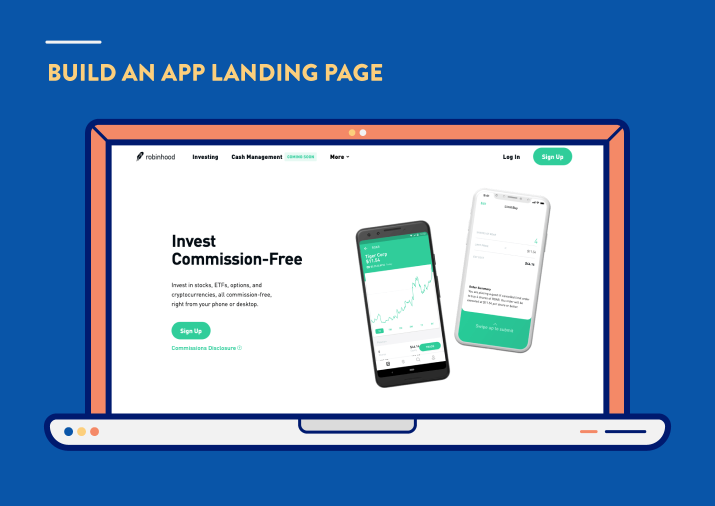 app marketing strategies to build an app landing page with robinhood example