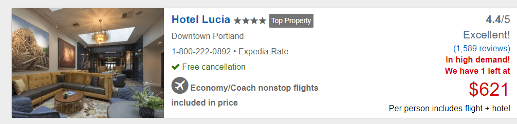 FOMO marketing tactic - show scarcity like in Expedia
