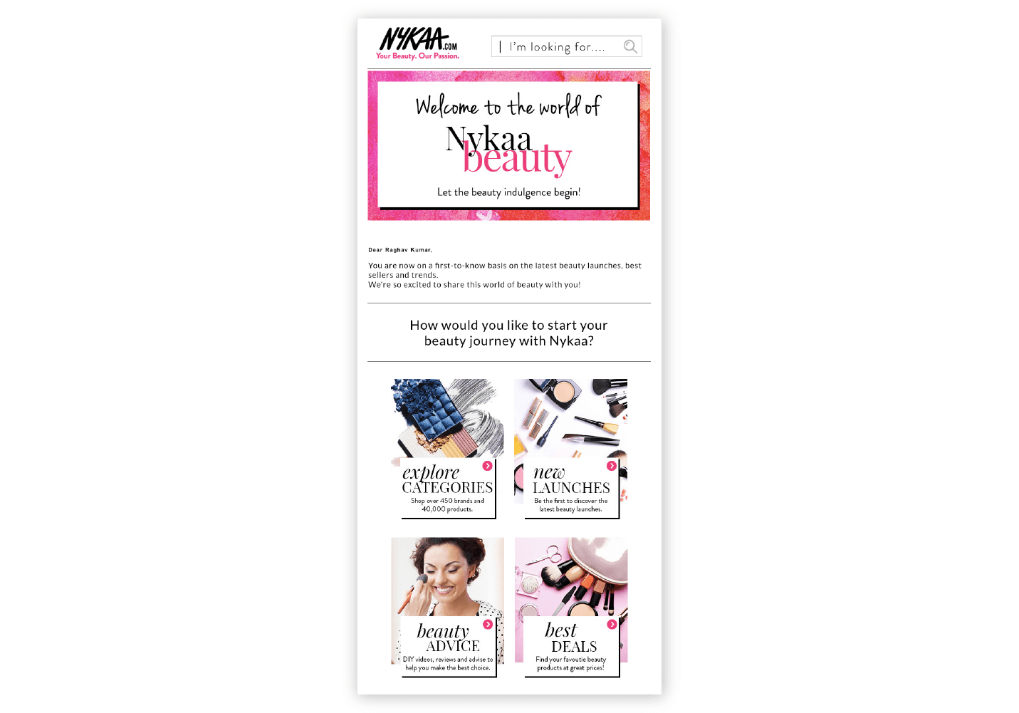 Nykaa Onboarding Email