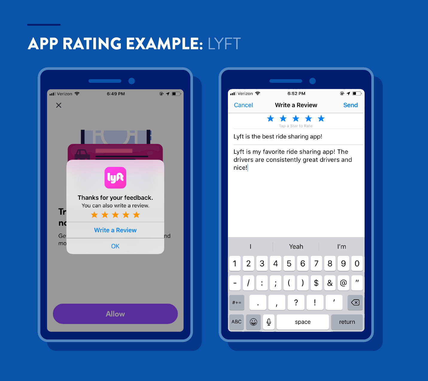 app ratings example from Lyft