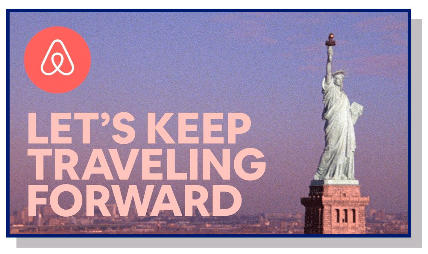 let's keep traveling forward airbnb campaign in response to President Donald Trump's travel ban