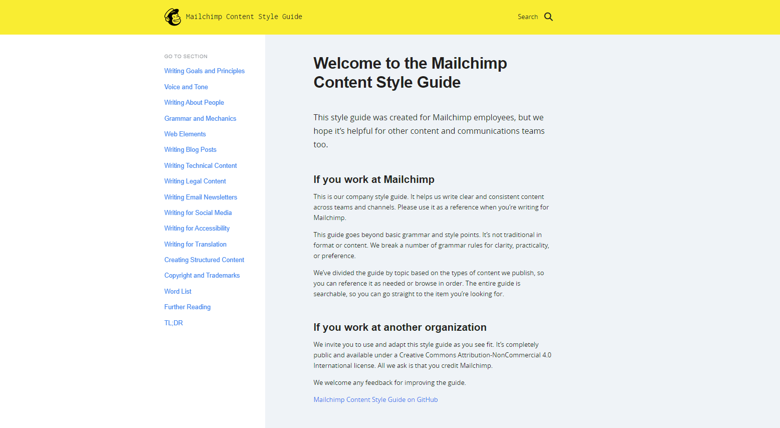 Microsite example - Mailchimp Content Style Guide
