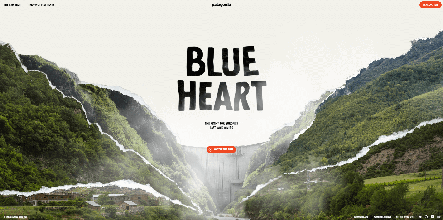 Microsite example - Patagonia's Blue Heart Campaign