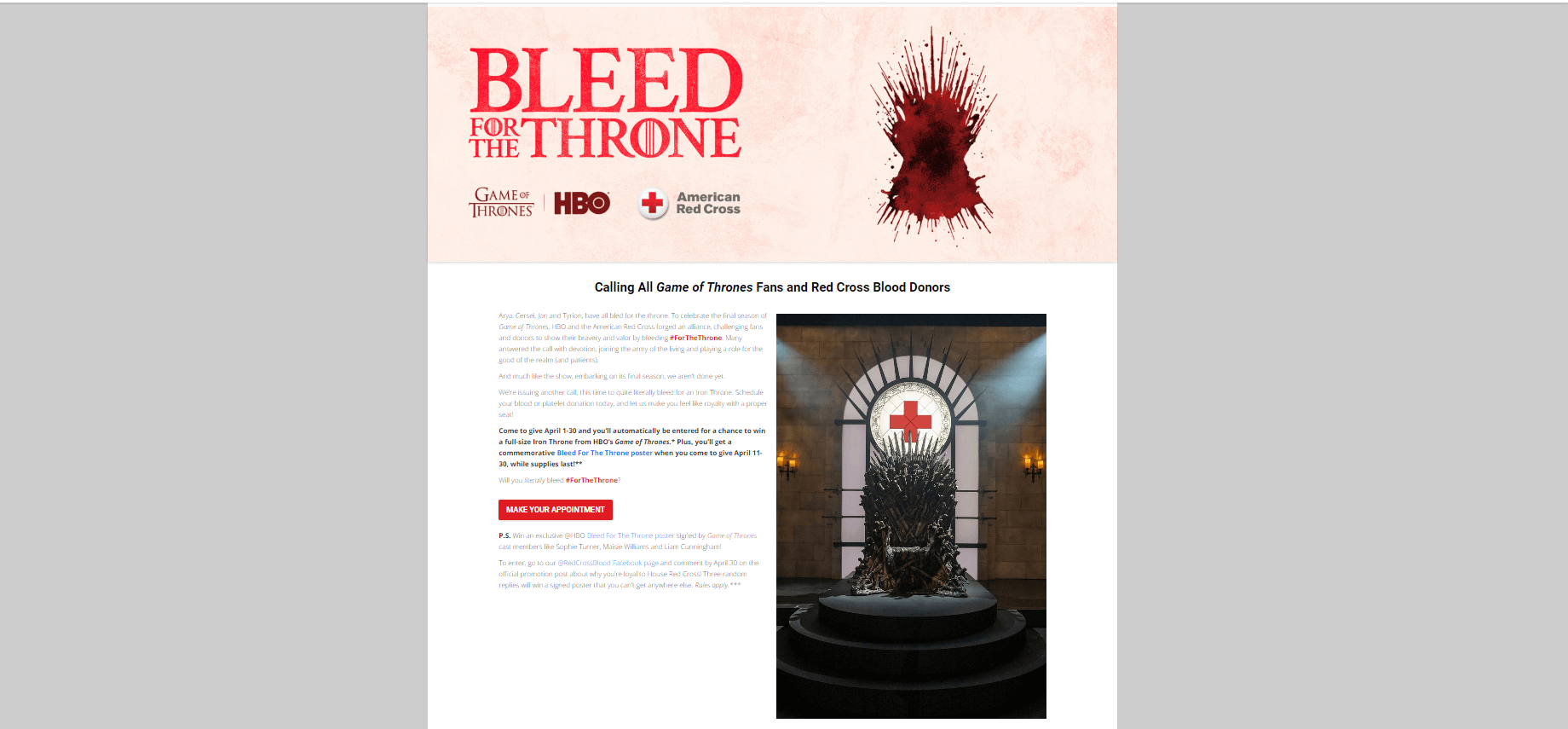 Red Cross' Microsite for Game of Thrones