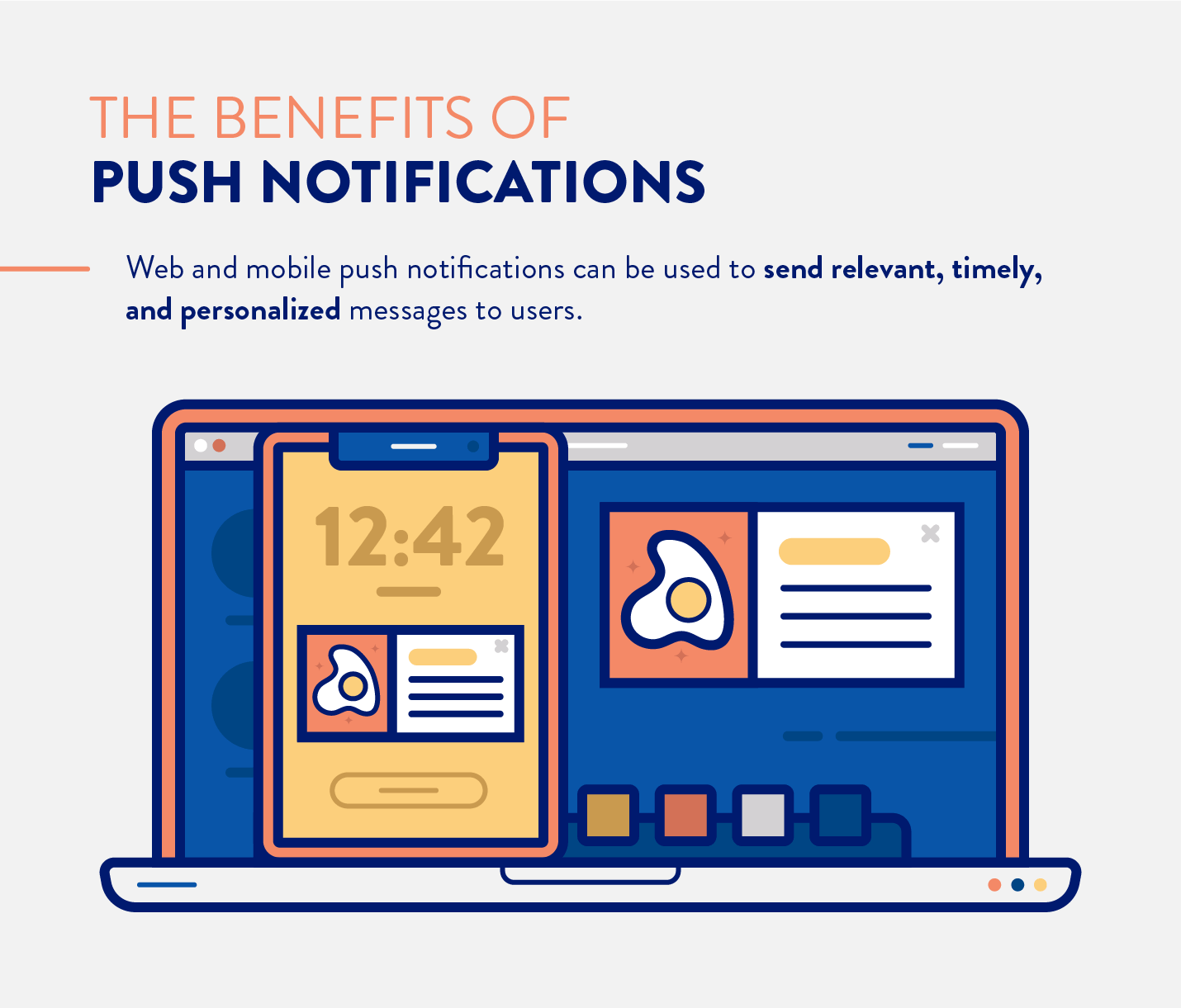 the benefits of push notifications including web and mobile which can be used to send timely, relevant, and personalized messages.