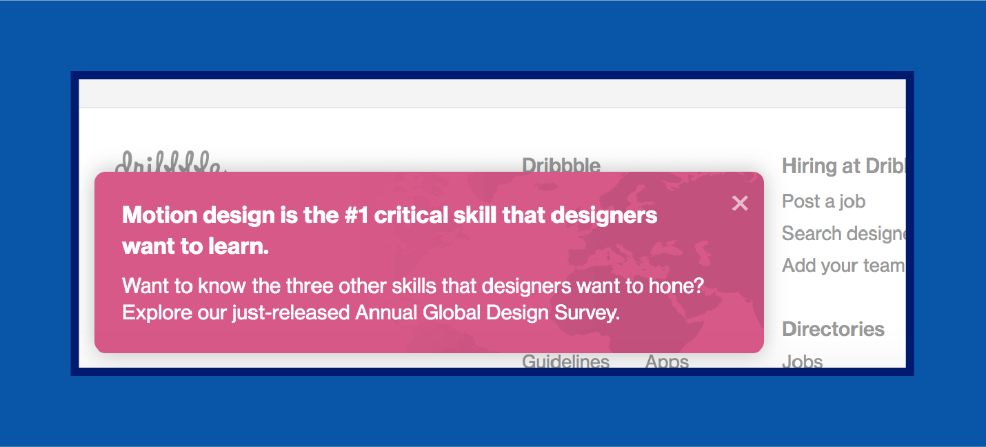 example of educational web push notification example from Dribbble