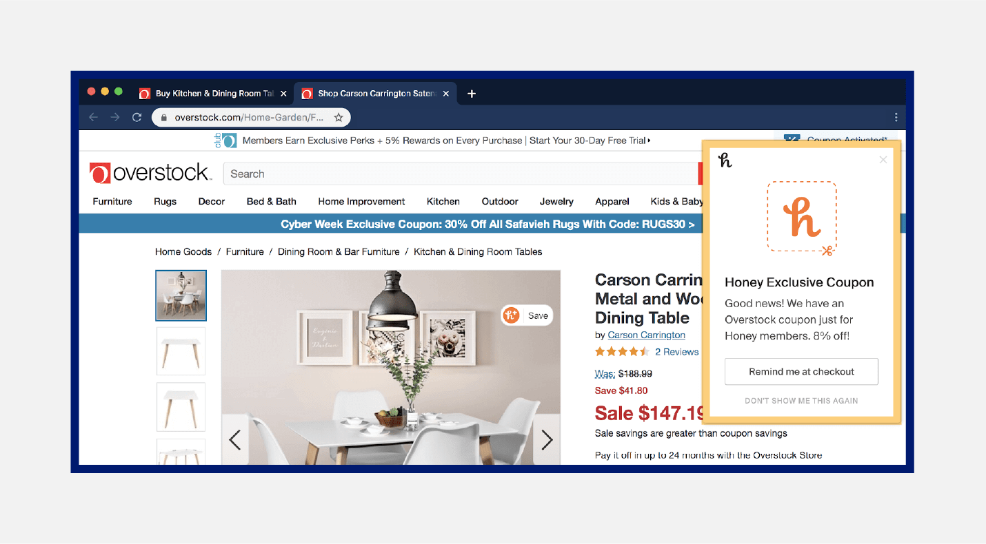 example web push notification from Honey and Overstock to receive coupon deal