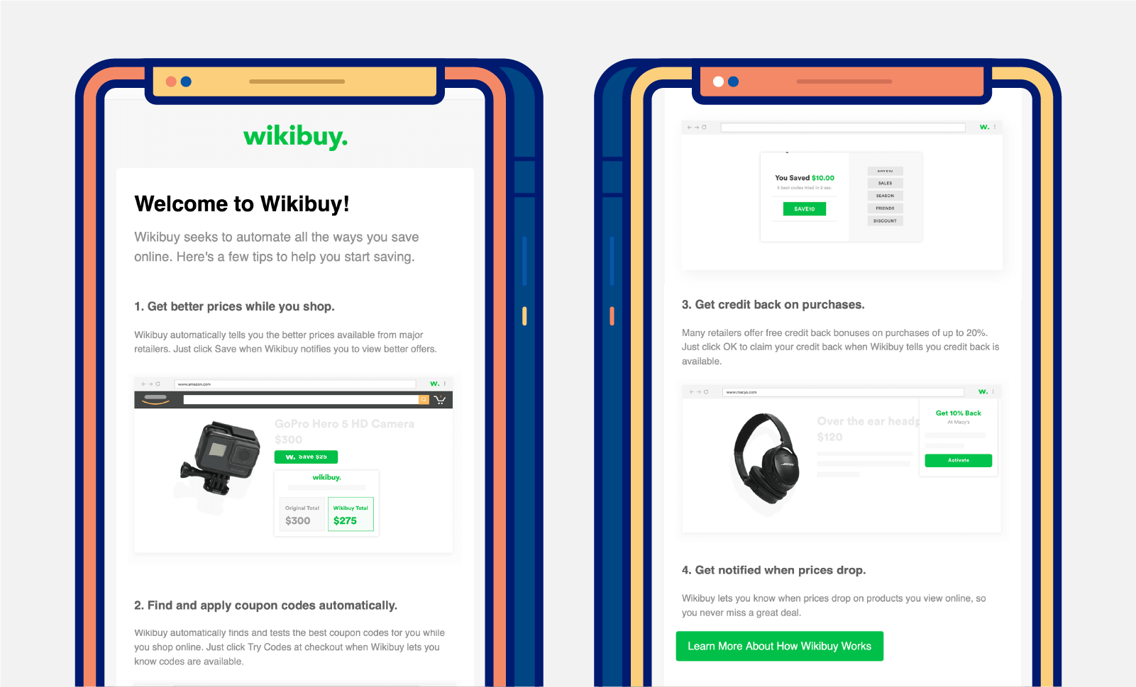two mobile screens showing real welcome message email from wikibuy