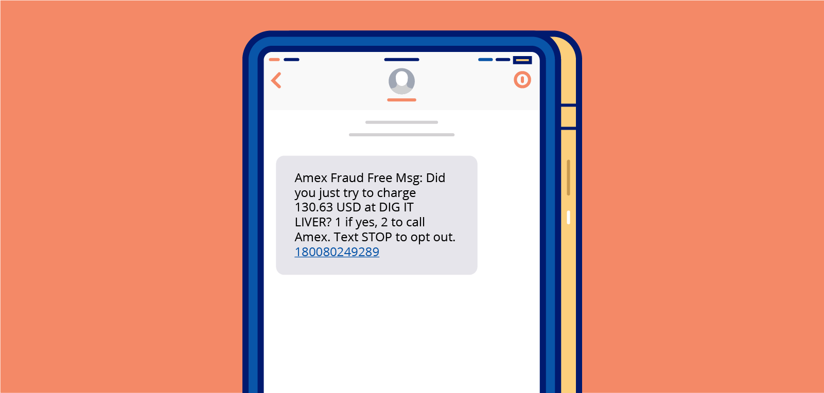 trigger sms campaign example of a fraud alert text from American Express