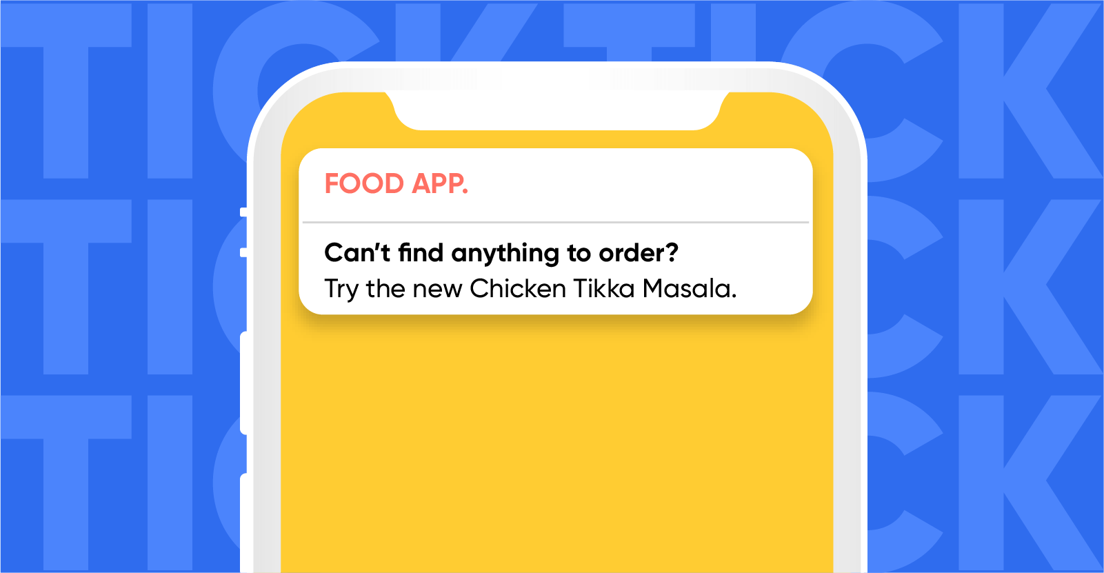 Push notification sent to an undecided food app user