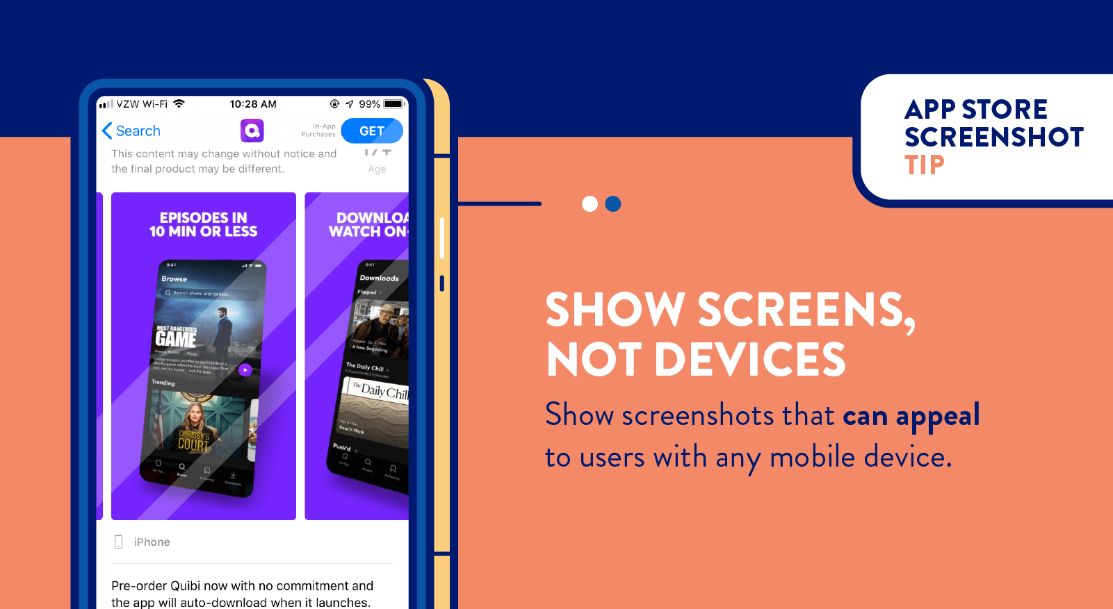 app store screenshots to show screens not devices