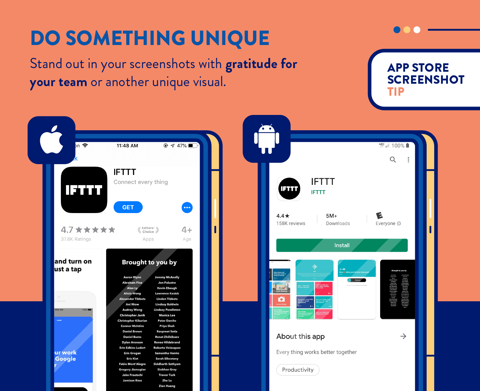 app store screenshots tip from IFTTT to do something unique