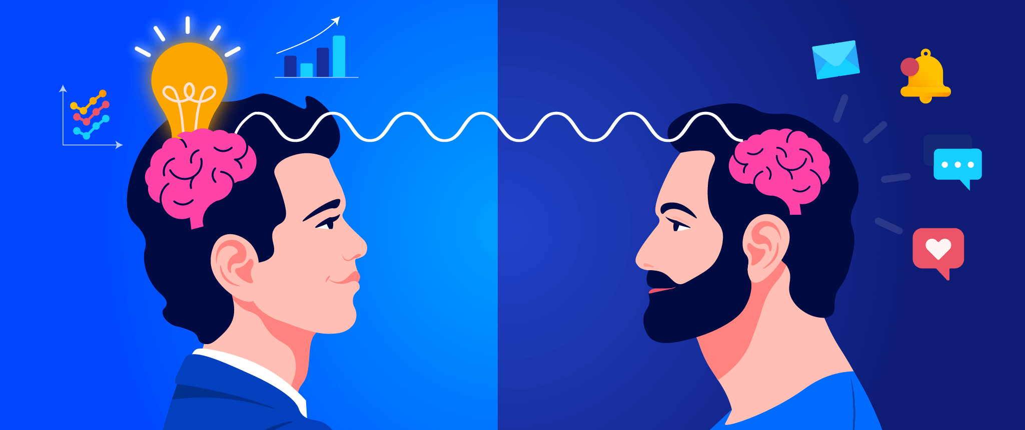 Empathy is Key for connecting to users - image of 2 people on similar brainwaves
