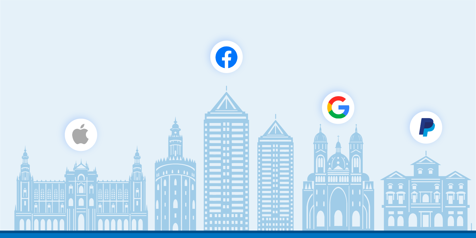 Big tech logos flying over banking institutions