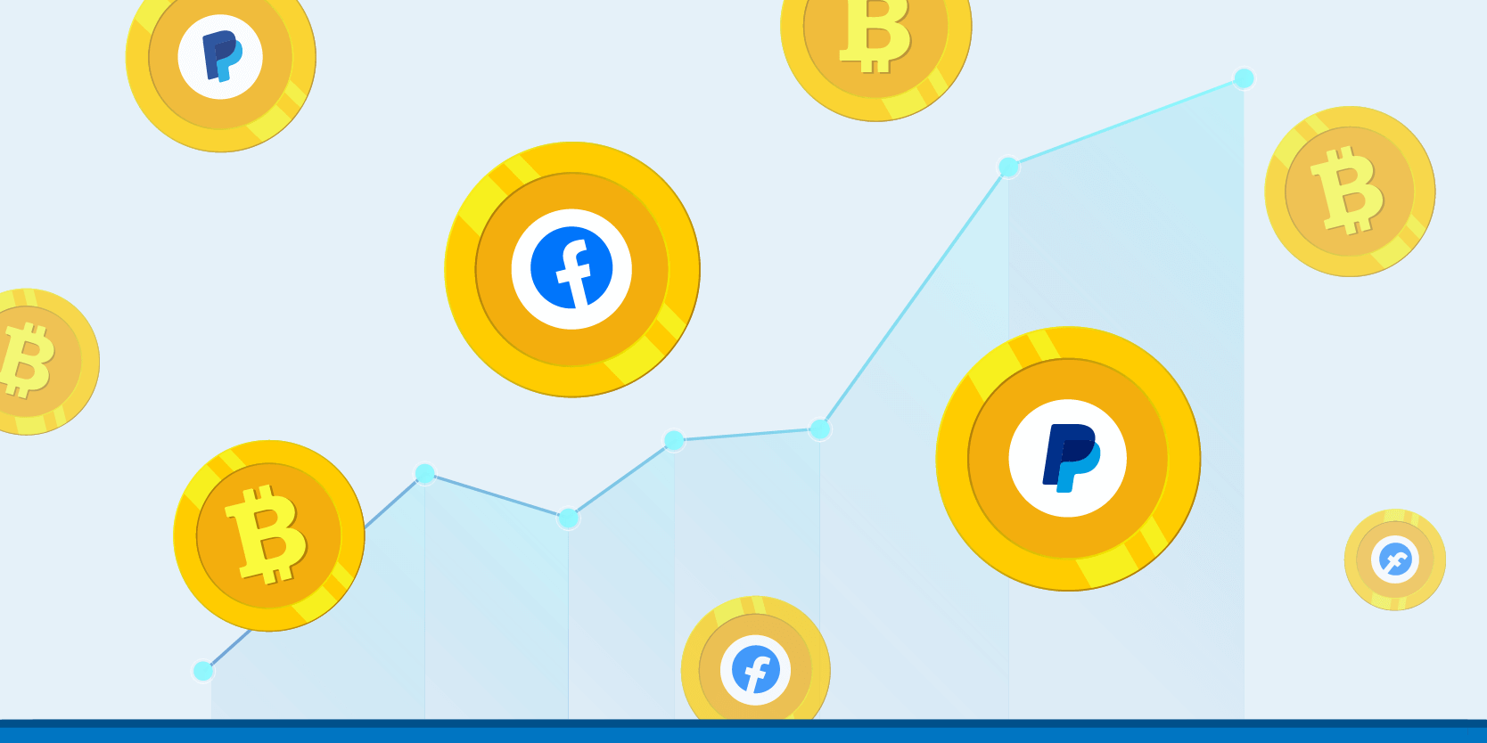 Facebook and Paypal logos on cryptocurrency