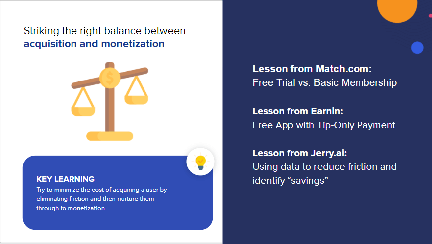 "Slide from ""Lessons on Monetization"" talking about acquisition vs monetization"