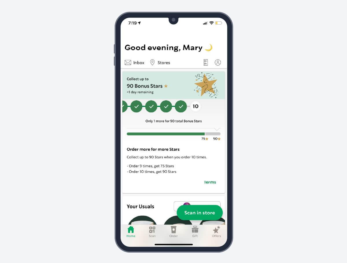 Starbucks rewards on an iphone