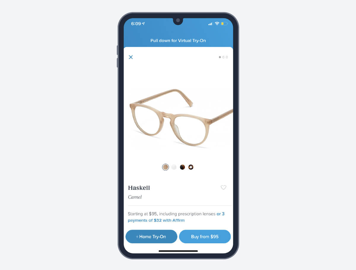 warby parker sunglasses on an iphone