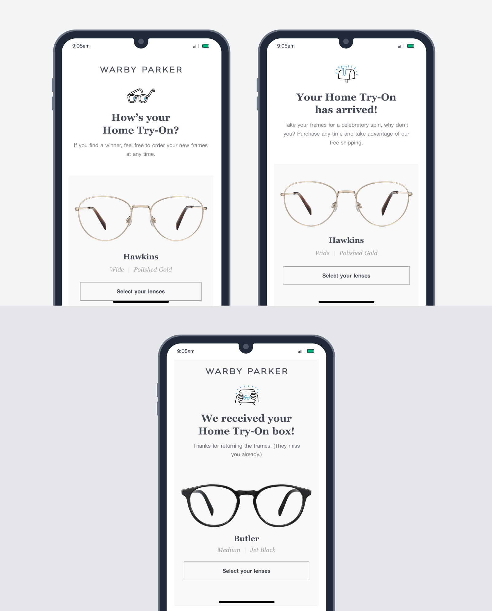 Warby Parkers prompt the user to complete purchases