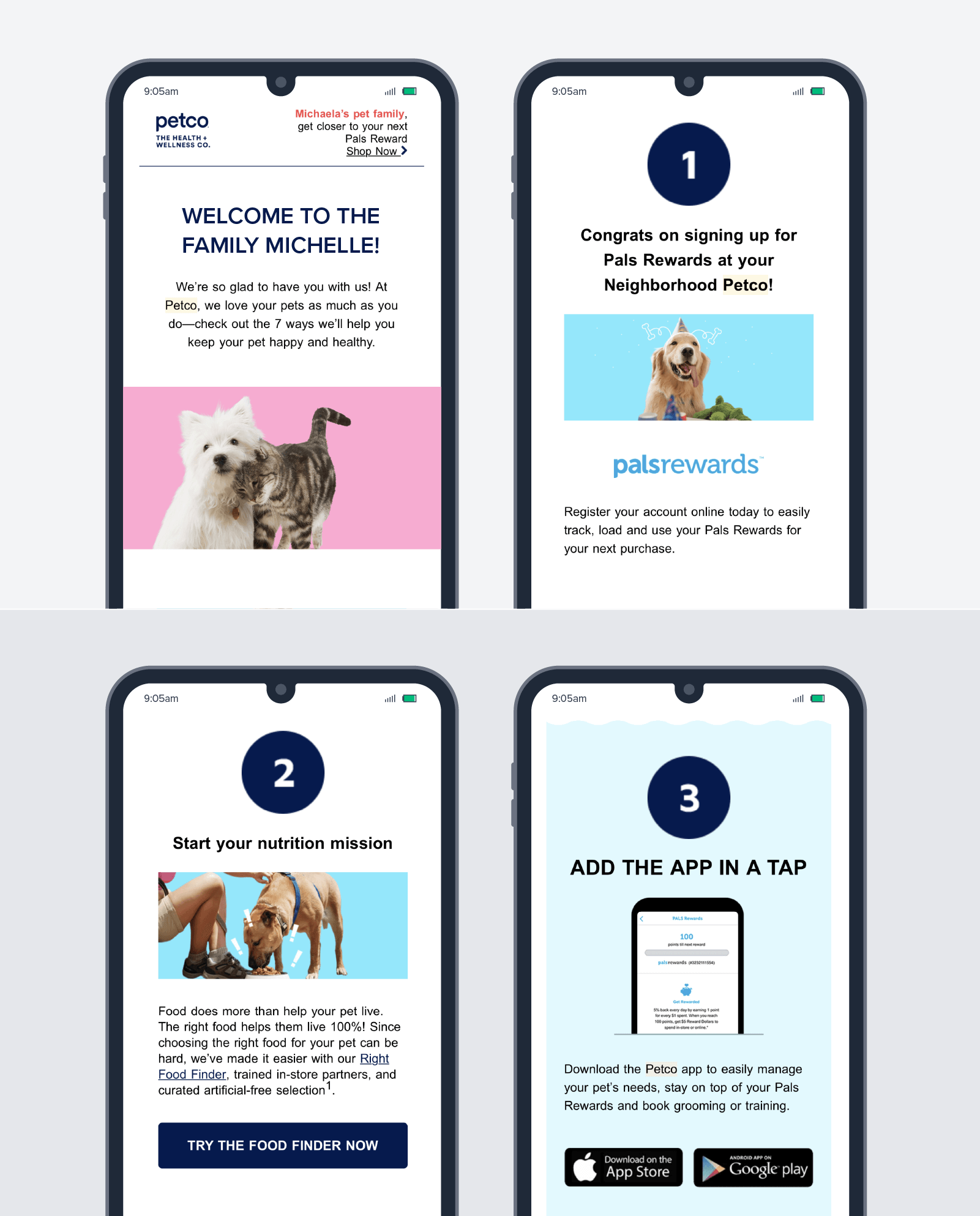 Petco's welcome email is tailored, easy to scan, and has a clear and relevant mid- and end-CTA.