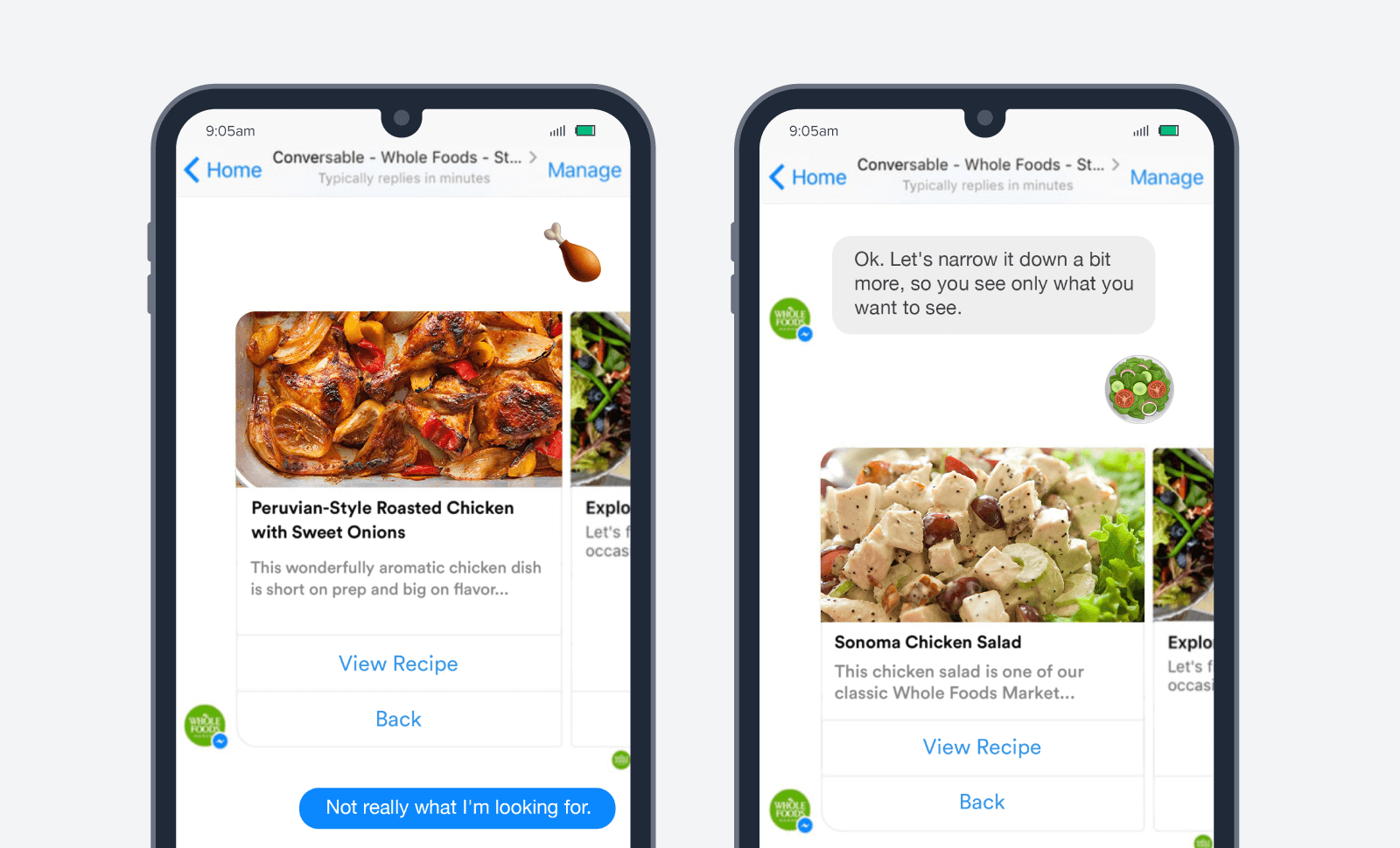 Whole foods chatbots meet customers where they are without the need for trigger campaigns or app downloads